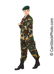 Soldier girl in the military uniform - Soldier girl in the...
