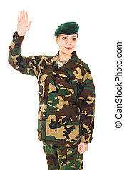 Soldier girl in the military uniform - Soldier in the...