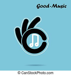 Creative hand icon abstract logo design vector template.Music and restaurant sign.Hand OK symbol icon.Corporate business and industrial  symbol.