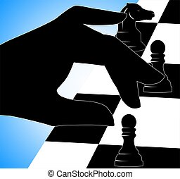 Chess play - Illustration of silhouettes of man playing...