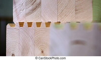 View on glued laminated timber, close-up