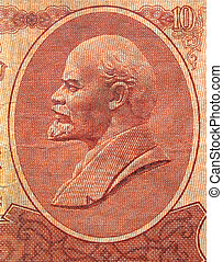 Lenin - Portrait of Lenin on a vintage withdrawn 10 Rubles...