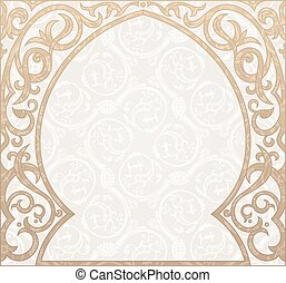 Arabic greeting vector background. Arch Muslim mosque