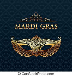Beautiful mask of lace. Mardi Gras vector background. Gold...