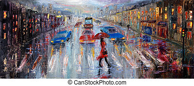 Crossing the street - Original oil painting showing...
