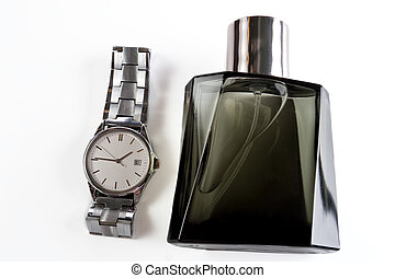 Mens eau de toilette and watches on a white background
