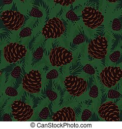 Pine Cones Seamless Pattern - Seamless Pattern with Pine...