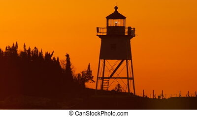 Morning Light Harbor Grand Marais Lighthouse Lake Superior...