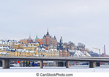 Northern Sodermalm and the bridge to Riddarholmen in winter Stockholm