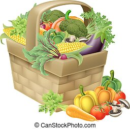 Vegetable Basket - A vegetable food basket full of fresh...