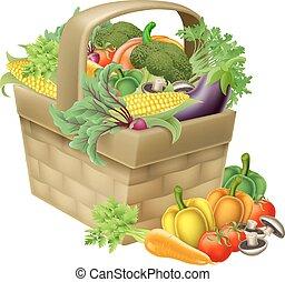 Vegetable Basket - A vegetable food basket full of fresh...