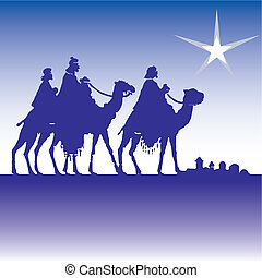 wisemen silhouette cartoon vector illustration