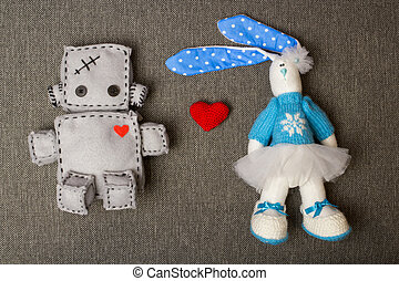 Robot and Bunny Soft Toys - Robot With Bunny Macro Soft Toy...