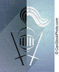 elegante, Símbolo,  medieval, guerreira