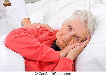 Elderly sick woman