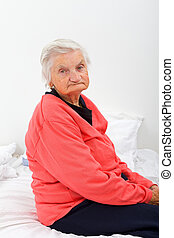 Unhappy elderly lady