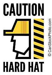 Hard hat safety - Construction worker sign