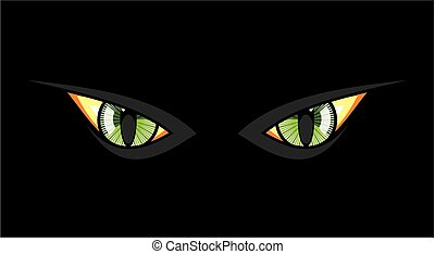 Cat eyes in dark night
