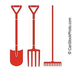 garden tools - Garden tool spade, pitchfork and rake vector...
