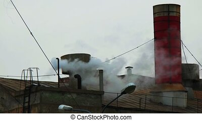 Old plant roof with steam fly over - Old plant roof with...