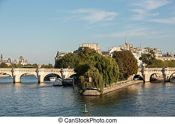 Pont Neuf and Cite Island in Paris, France