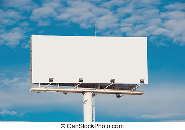White billboard with cloudy sky on background