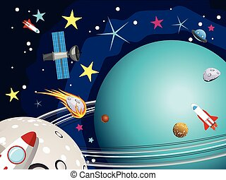 Uranus Planet in the Space - Cartoon planet Uranus in the...