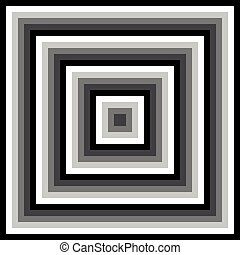 Gray Scale Abstract Concentric Square Pattern - Gray scale...