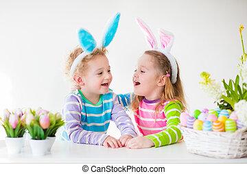 Kids celebrating Easter at home
