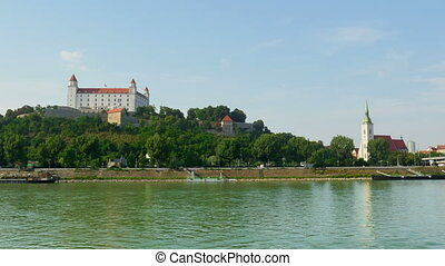 """bratislava castle view, slovakia, timelapse, zoom out, 4k"""