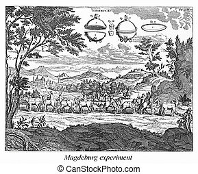 Old engraving, Magdeburg experiment