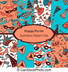 Seamless pattern set for Jewish holiday Purim Colorful...