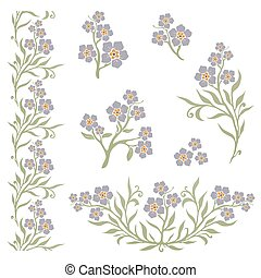 Forget-me-not myosotis graphic flowers - Forget-me-not...