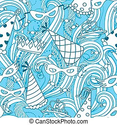 Purim holiday seamless pattern - Purim Jewish holiday...