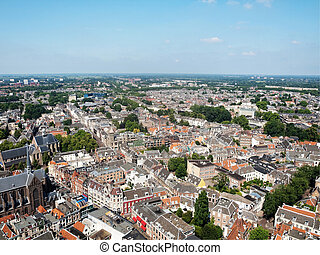 Colorful Utrecht - Areal view of Utrecht city Dom tower