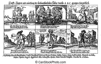 Tobacco use and abuse, caricature engraving XVII century