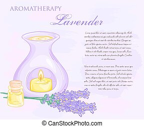 vector illustration of oil burner with lavender flovers and...