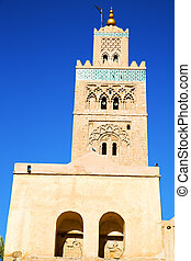 maroc africa and the blue sky - in maroc africa minaret and...