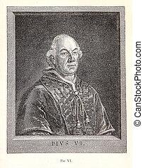 Pope Pius VI, engraving portrait