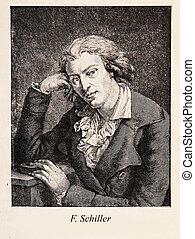 Johann, Christoph, Friedrich, Von, Schiller, gravure,...
