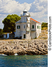 Croatia, Prisnjak Lighthouse on an islet of Murter archipelago