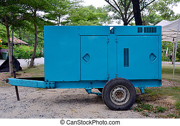 Electric generator trailer standby in night time