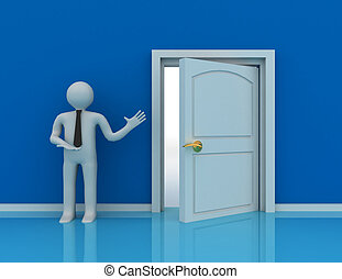 3d people - man, person and a open door