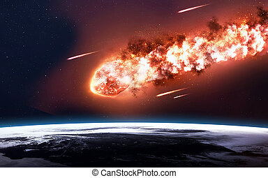 The Falling Meteor Rain Comet in space, meteor and energy,...