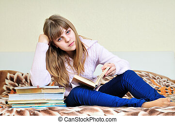 bored girl with books