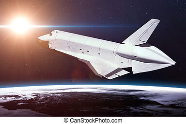 Space Shuttle Orbiting Earth. Elements of this image...