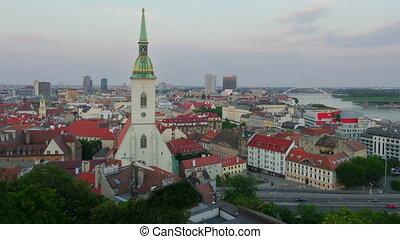 """""""bratislava old town view, slovakia, timelapse, zoom in, 4k"""""""