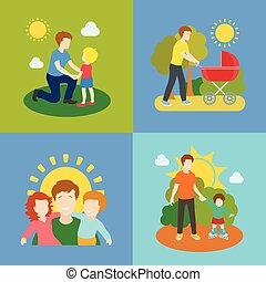 Fatherhood father playing with children illustration. -...