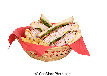 chicken club sandwich wood basket