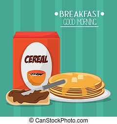 Breakfast food design - Breakfast concept with food icons...